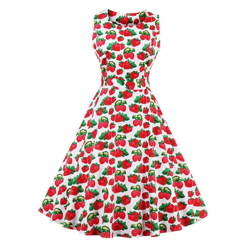 Kostlish 9 Style Print Summer Dress Women 2017 Sleeveless Swing 1950s Hepburn Vintage Tunic Dress Elegant Party Dresses Sundress (22)
