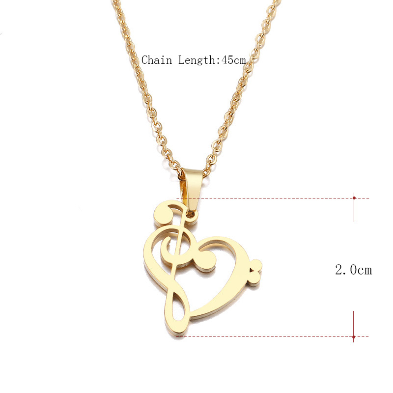 ibobi Stainless Steel Necklace Women Jewelry Music Symbol Heart Trendy Necklaces Pendants Donot Fade Valentine
