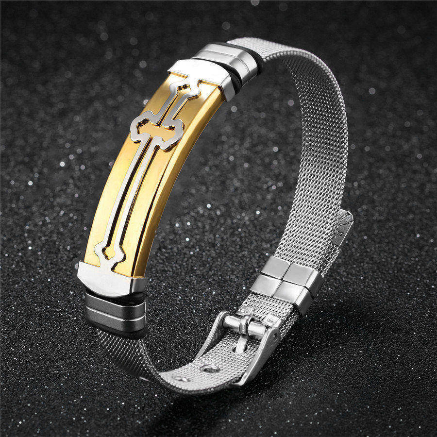 Men Jewelry Classic Bangle Black And Gold Color Stainless Steel Cross Pattern Belt Bracelet Male Birthday Present