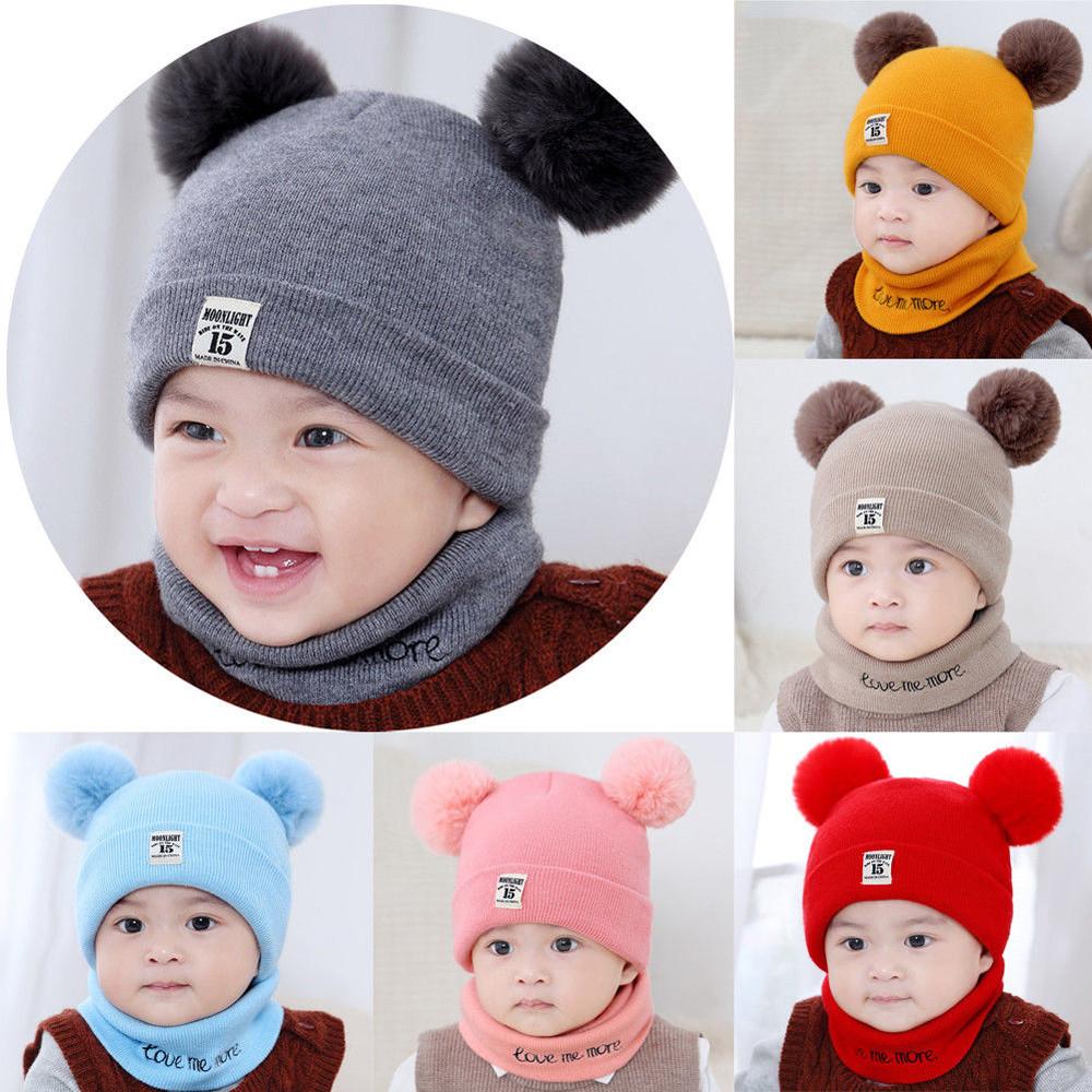 Schal Set Baumwolle Caps Schals Kinder Winter warmer Bogen Turban Knoten Hut