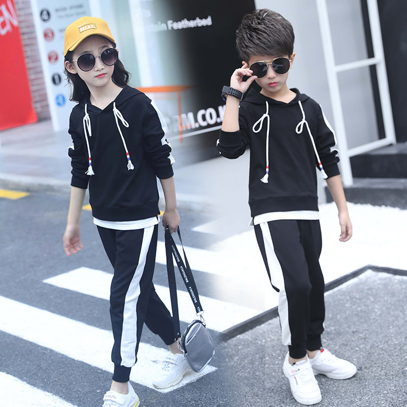 Children's Clothing Set 2019 Spring New Boys/girls Fashion Suit Korean Fashion Sportswear Foreign Cotton Long Sleeve Two-piece