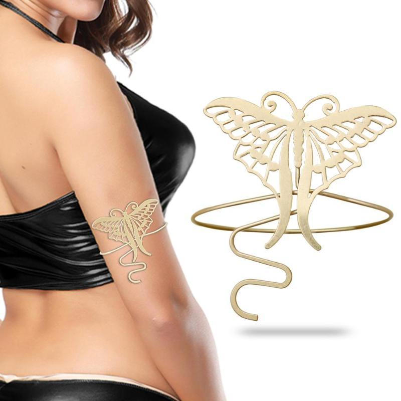 Retro Bohemian Upper Arm Bracelet Open Bangle Armlet Simple Arm Cuff Adjustable