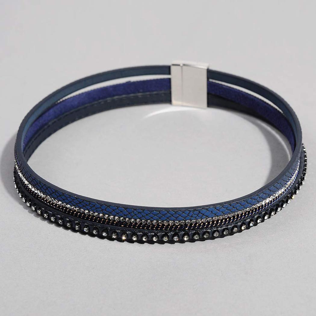 Neue mode frauen leder magnetknopf armband mehrschichtige armband schmuck neue magnetknopf armband