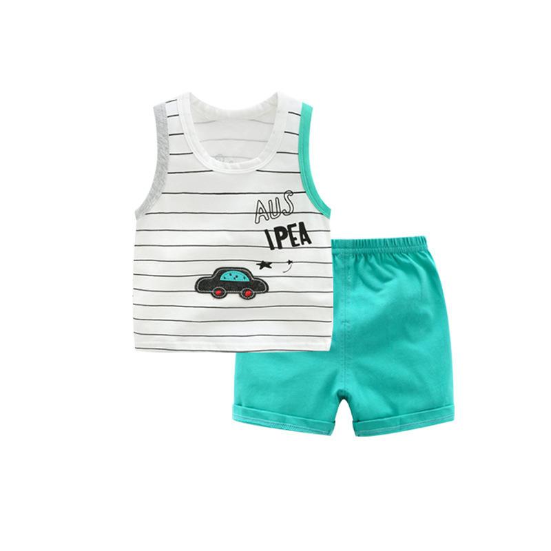 Toddler Kids Vest Suit Car Printed Vest+shorts Outfits Lycra Cotton Baby Boy Summer Clothes Set Q190530