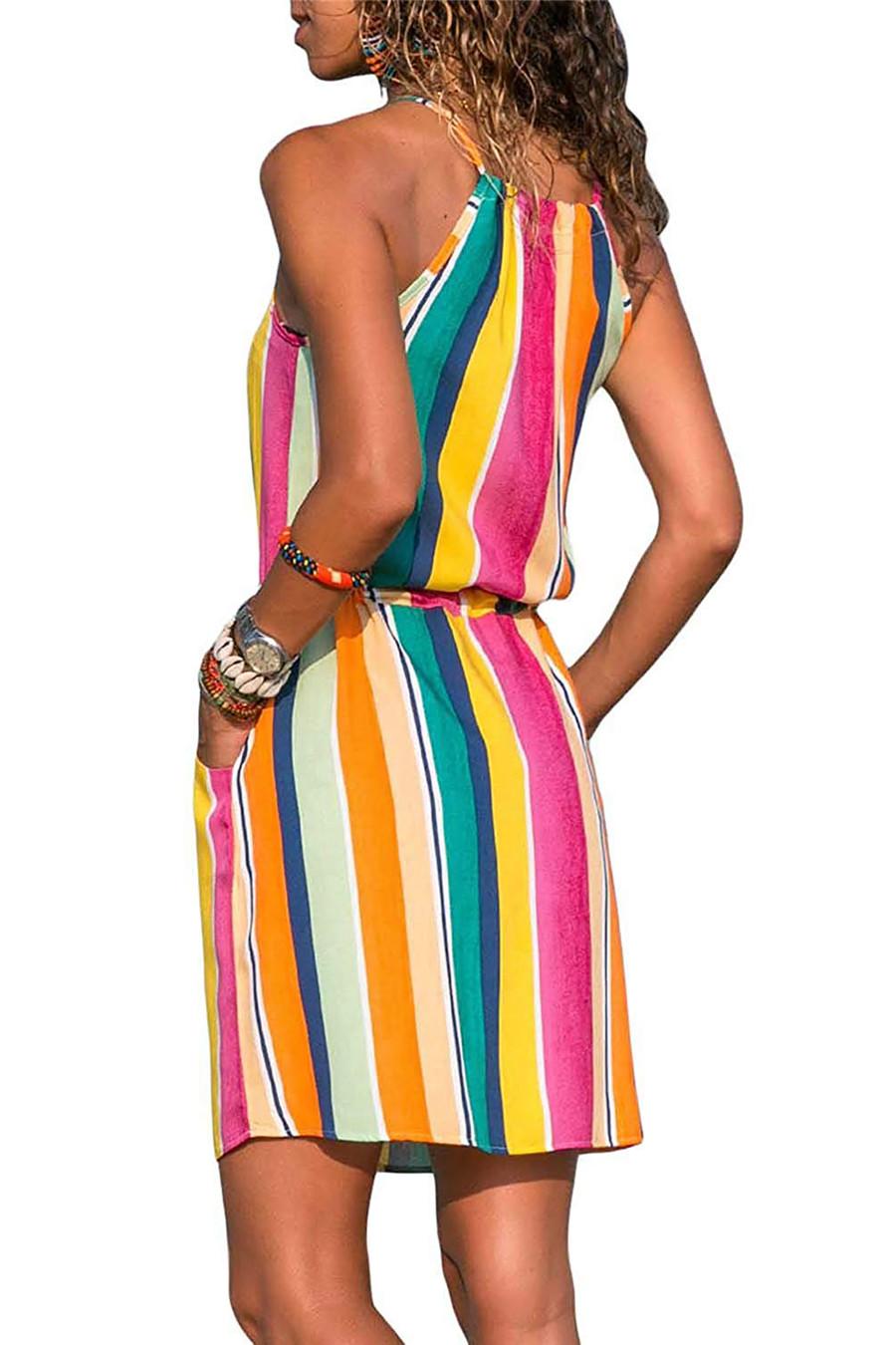 Gladiolus Chiffon Women Summer Dress Spaghetti Strap Floral Print Pocket Sexy Bohemian Beach Dress 2019 Short Ladies Dresses (36)