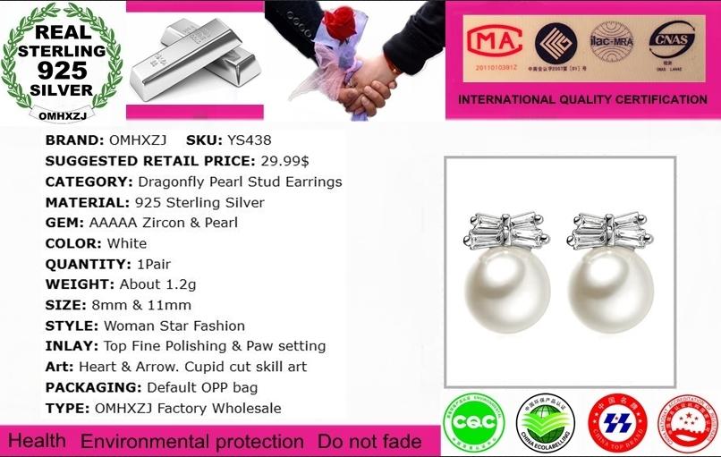 OMHXZJ Wholesale Sweet Elegant Fashion Wild Woman Bride Wedding Dragonfly Zircon Pearl 925 Sterling Silver Stud Earrings YS438
