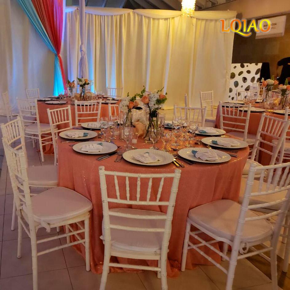 Coral Sequin Tablecloth 006