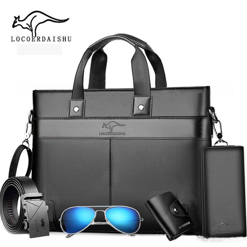 Briefcases Briefcase Classic Design 5pcs Handbag For Man Business Computer Bag Men's Office Bags Travel Work Laptop Shoulder 2021