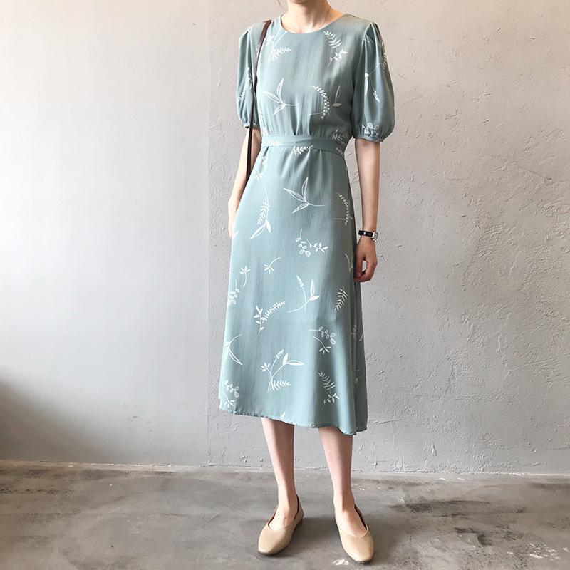 2019 Summer Lantern Cap Chiffon Dress Lace Up Waist Women Pressure Midi Dress Eleganti abiti da festa etero Y19070901