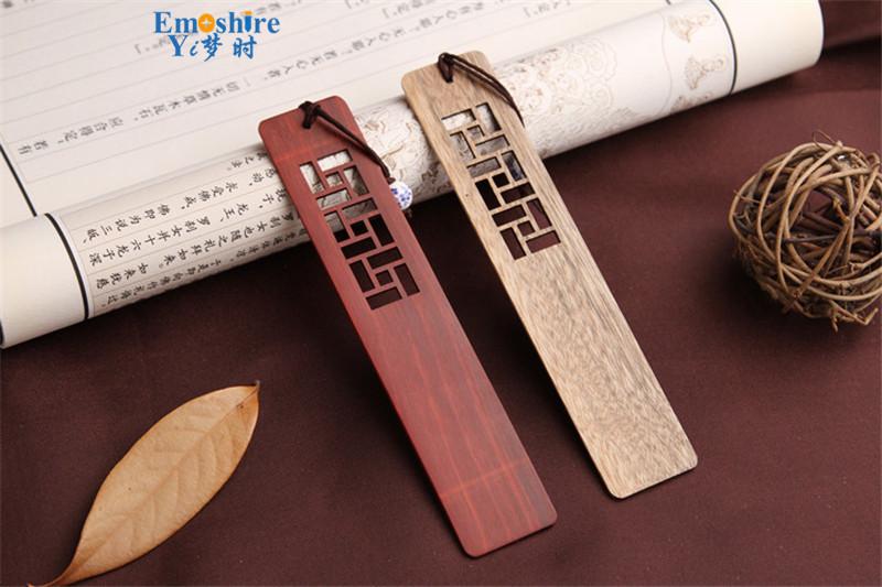 Emoshire High-grade solid wood bookmarks set of classical hollow Branch Tan gold silk Nanmu Chinese wind bookmarks custom custom TSQ04 (5)