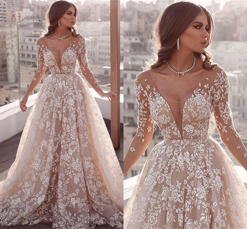 15 Fairy Abendkleider mit tiefem V-Ausschnitt in voller SpitzeAppliques  Illusion eine Linie Abend-Kleid-Partei-Wear nach Maß langen Ärmeln Roter