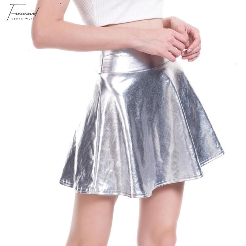 Gonna corta minigonna in eco pelle oro o argento Gold or silver PU leather skirt