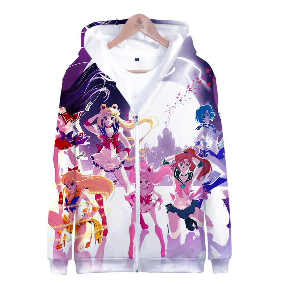 New Cosplay Sailor Moon Tsukino Usagi Print Casual Coat Sweat Hoodies Costumes