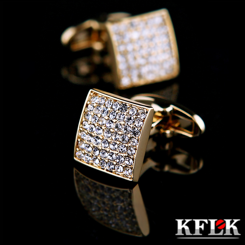 KFLK Jewelry french shirt cufflink for mens designer Brand Cuffs link Button Gold High Quality Luxury Wedding male Free Shipping