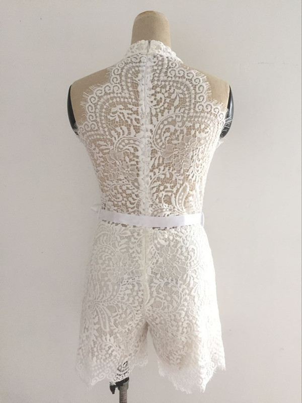 Sexy Sleeveless Lace Print Patchwork Night Club Wear Jumpsuit Women Summer Mini Short Rompers Party Costume Clubwear