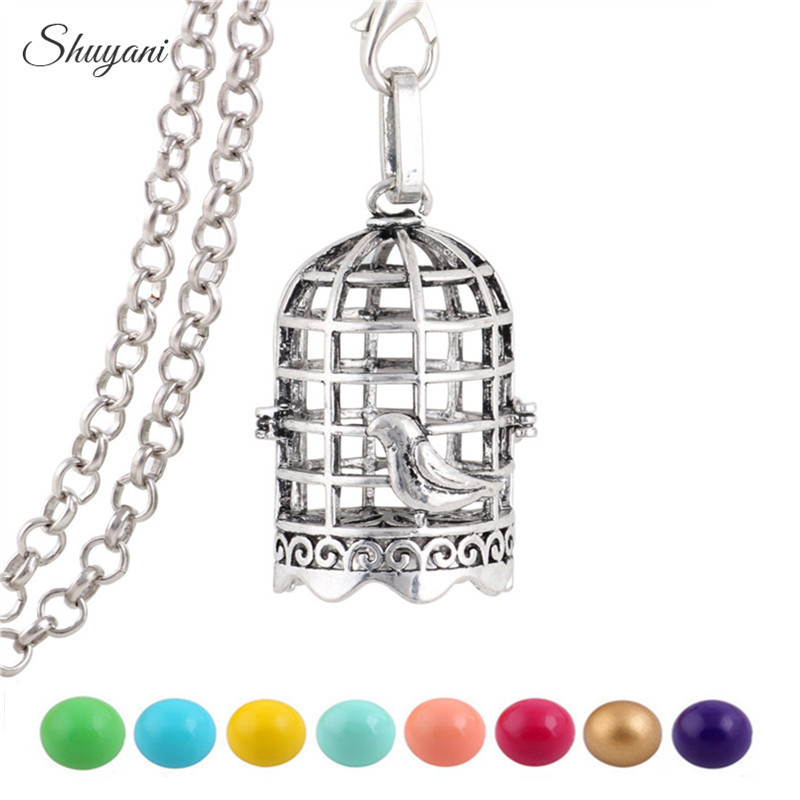10PCS-Antique-Silver-Angel-Baby-Hollow-Bola-Birdcage-Necklaces-for-Harmony-Pregnant-Women-Cage-Locket-Pendant