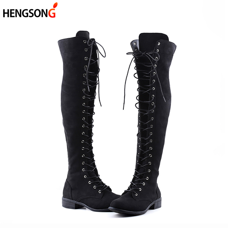 Sexy Lace Up Over Knee Boots Women Boots Flats Shoes Woman Square Heel Rubber Flock Boots Botas Winter Shoes Black Plus Size 43