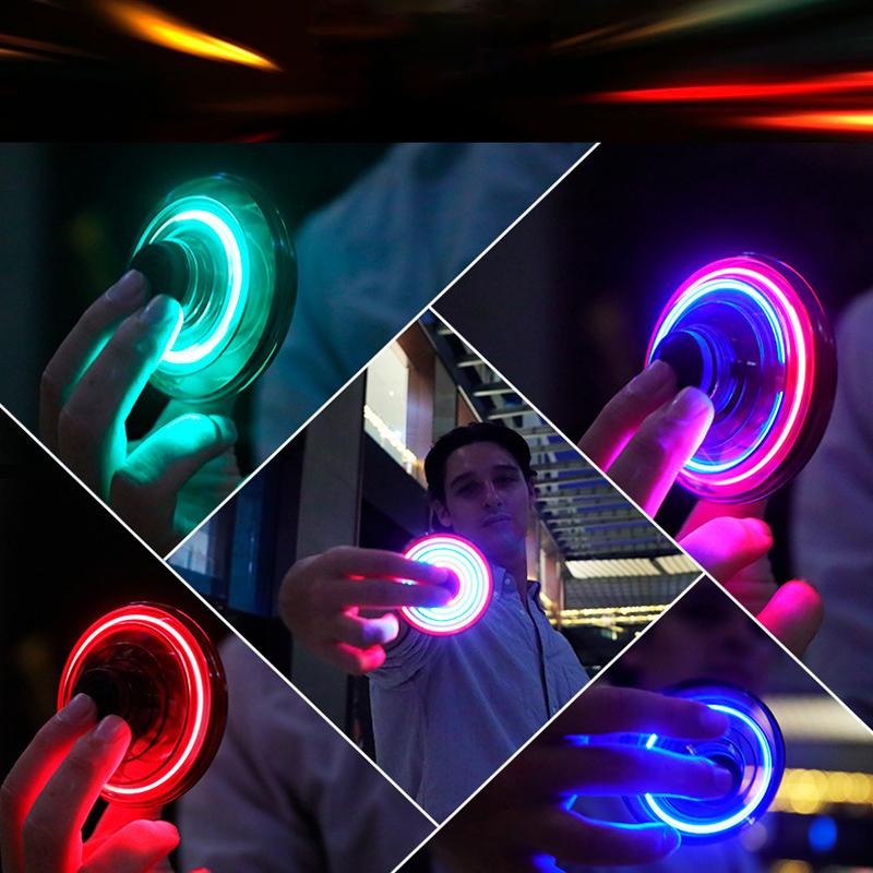 Luminous Gyro Flash Gyroscope Glowing Burst LED Spinning Top Toys B$CA