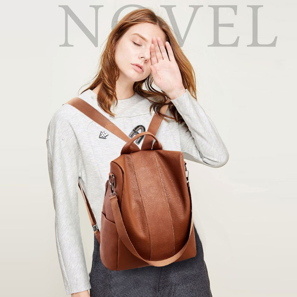 Backpack Female Leather Punk Studded Backpack Wild Large Capacity Retro Shoulder Casual Soft Leather Backpack Brown Multipurpose Daypacks
