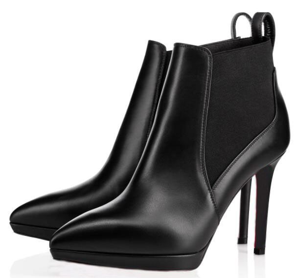 Fashion stiletto ankle boot platform High Heels Crochinetta Red Bottom women boot brand sexy pointed toe lady winter boots party dress EU47