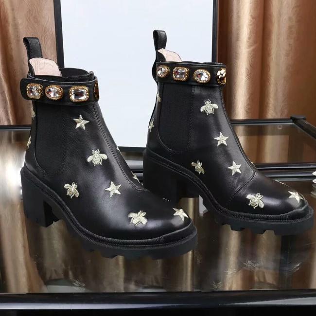 Occident Femme Rivet Boucle Sangle Sur Bottes Hautes Parti Talon élégant Chaussures