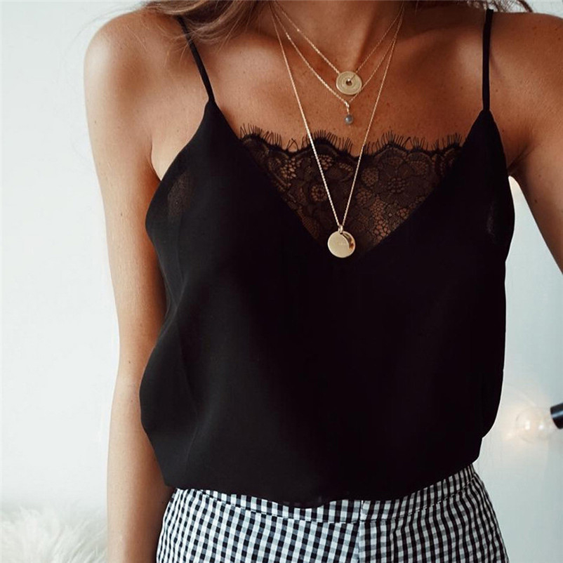 Fashion womens tops and blouses summer Lace Sexy Vest simple Camisole Sleeveless solid Shirt femmes camicette Y18#N (3)