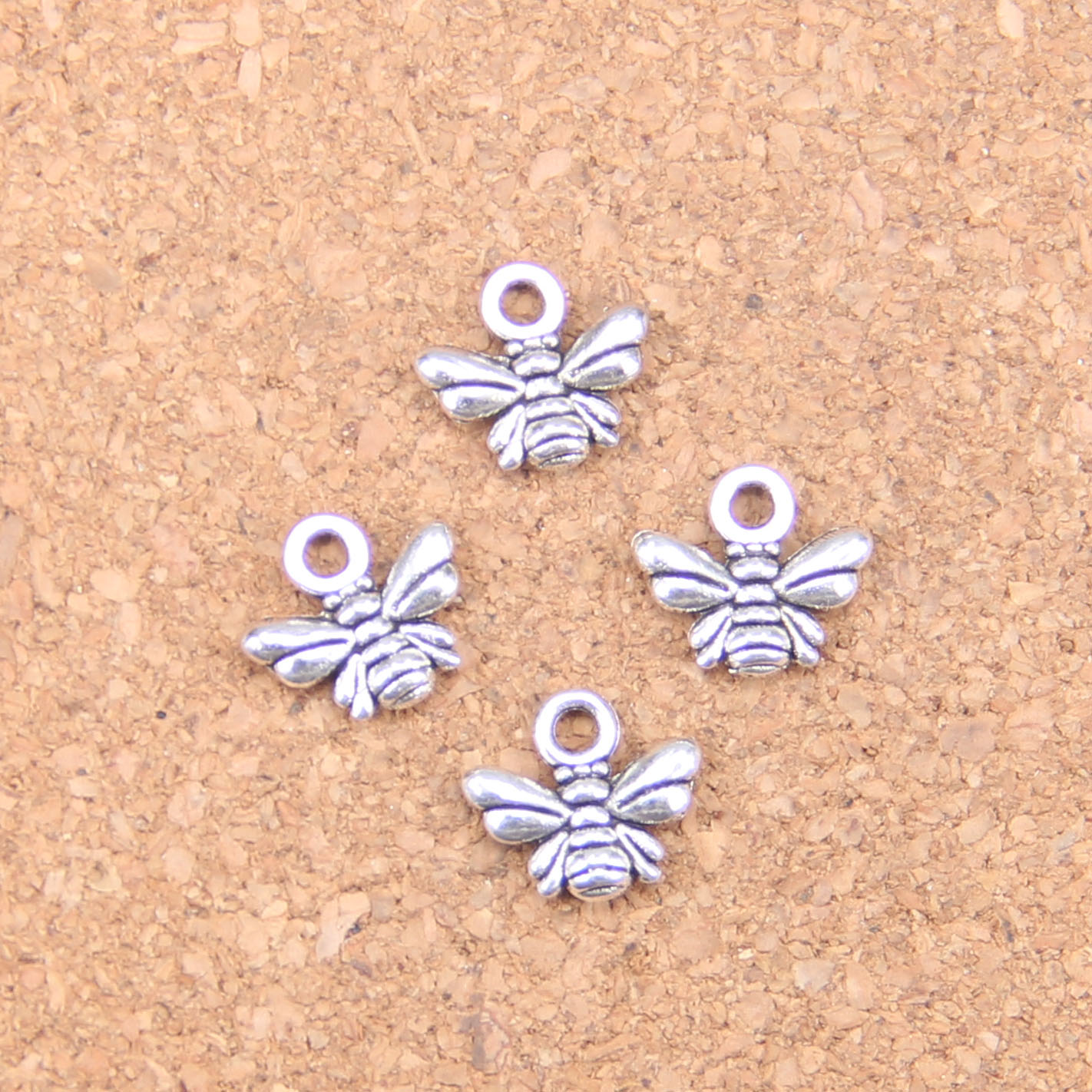 GOLD BRONZE PENDANT 15MM-CRAFTS-SAVE THE BEES BEE CHARM TIBETAN SILVER