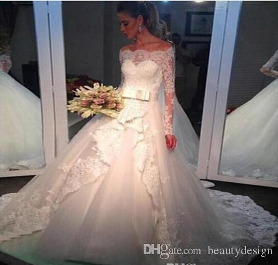 Vintage Off Shoulder Lace Wedding Dresses with Long Sleeves 2017 Winter Spring Modest Western Country Church Bridal Gowns Vintage Beaded