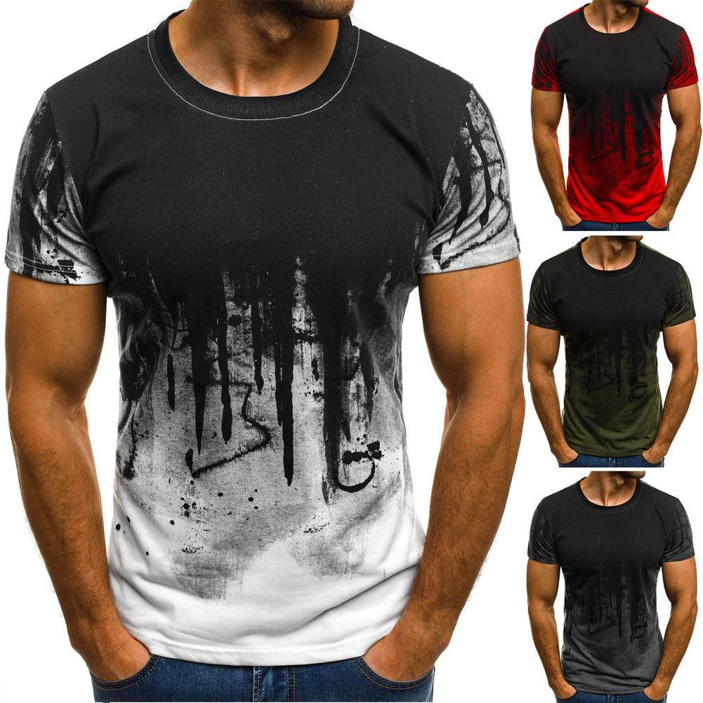 Mens Summer Casual Cute 3D Printing Elastic Short Sleeve T-Shirt White Slim Blouse Tops