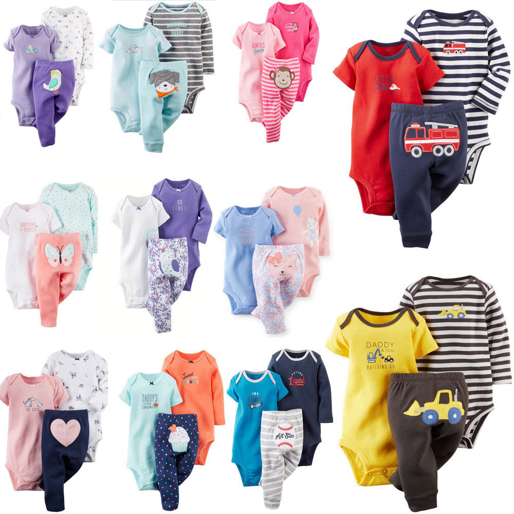 Free ship 100% Cotton 2018 bebes 3-24M set ,baby boy clothes ,baby girl clothes,newborn 3piece ropa boy