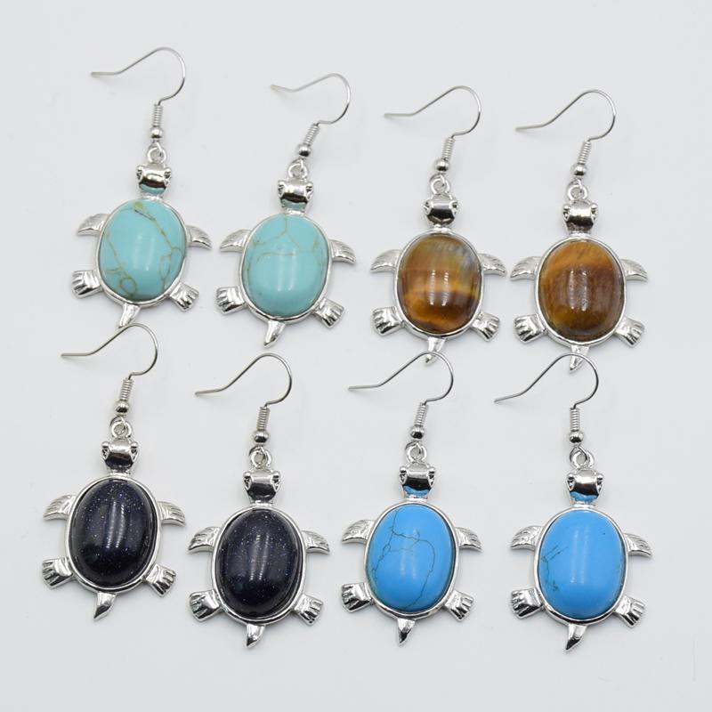 BOUCLES D/'OREILLES PERLE en bois turquoise TORTUES TURTLE bijoux