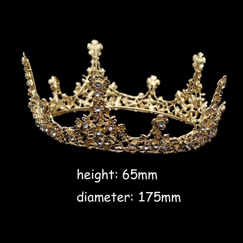 Gold Color Baroque Vintage Men Diadem Large Crystal Full Round Prom King Crown Wedding Pageant Queen Tiara Bridal Hair Jewelry Y19061703