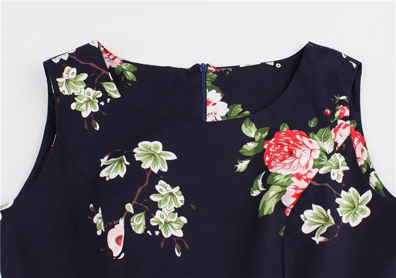Kostlish 9 Style Print Summer Dress Women 2017 Sleeveless Swing 1950s Hepburn Vintage Tunic Dress Elegant Party Dresses Sundress (73)