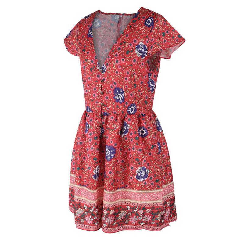 Forefair Retro Boho Dress Mini Summer (6)