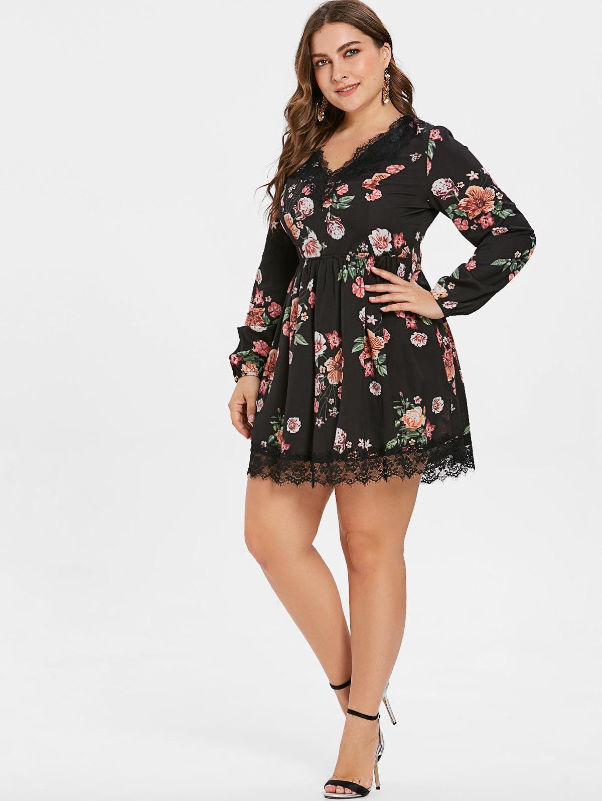 Wipalo Plus Size Lace Up Floral Print Mini Dress Casual V Neck A-Line Lace Trim Dress Oversized Women Fall Clothes 5XL Vestidos T190608