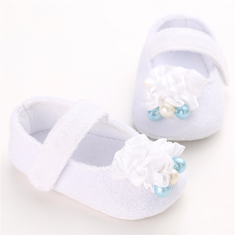 Baby Girls Shoes Fashion Newborn Infant Baby Girls Flower Pearl Soft Sole Anti-slip Princess Shoes Baby First Walker JE25#F (3)