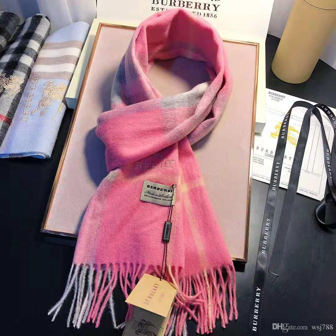 f07f021fd96bc Winter Unisex 100% Cashmere Scarf Brand Luxury Classic Check Scarfs Women  and Men Pashmina Designer Shawls and Scarves