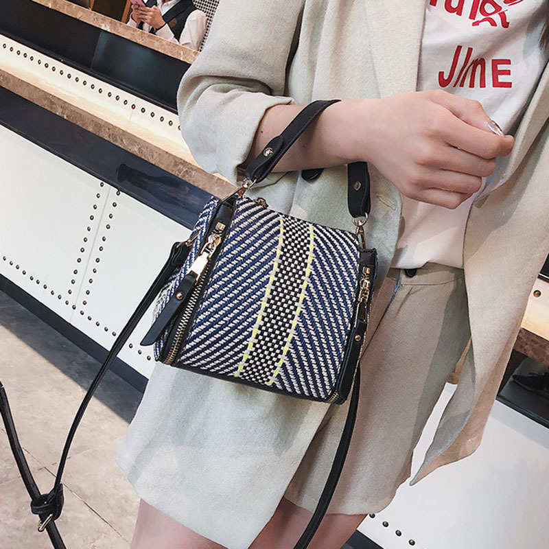 Hot Women Panelled Handbag INS Popular Female Casual Summer Straw Bags Lady Beach Shoulder Bag Fashion Travel Woven Tote SS7221 (5)