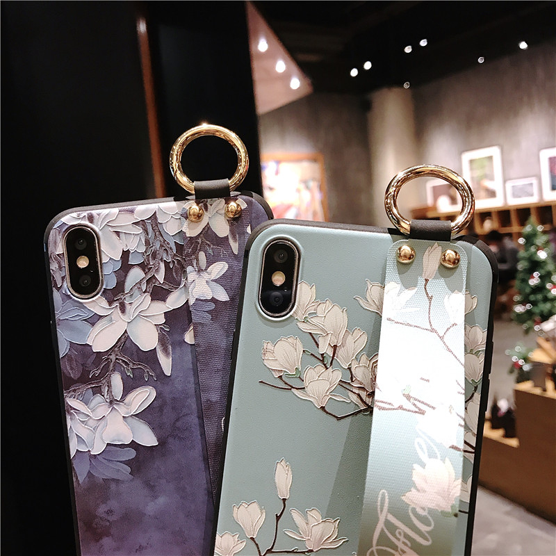 6 SoCouple Wrist Strap Phone Cases For iPhone 7 Flower Case For iPhone 6 6S 7 8 Plus X XS Max XR Matte Soft Silicone Back Cover