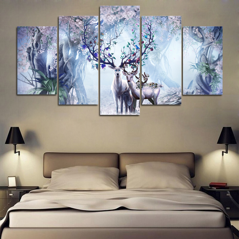 Painting Art Wall HD Modular Picture /Pcs Beautiful Flower Canvas Deer Nature Landscape Print For Living Room Home Decor