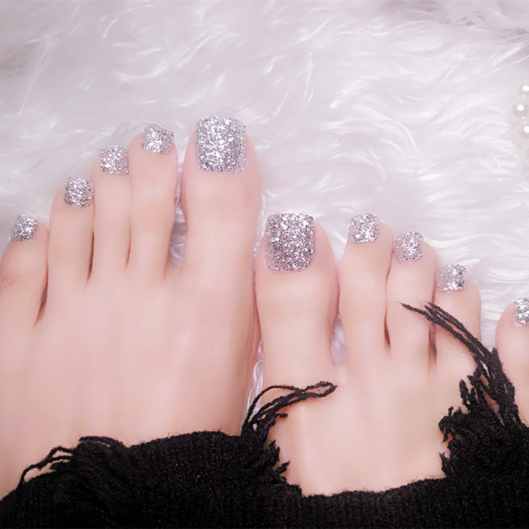 Glitter Silver False Acrylic Toenail Holo Small Sequins Art Foot Nail Salon Products T034