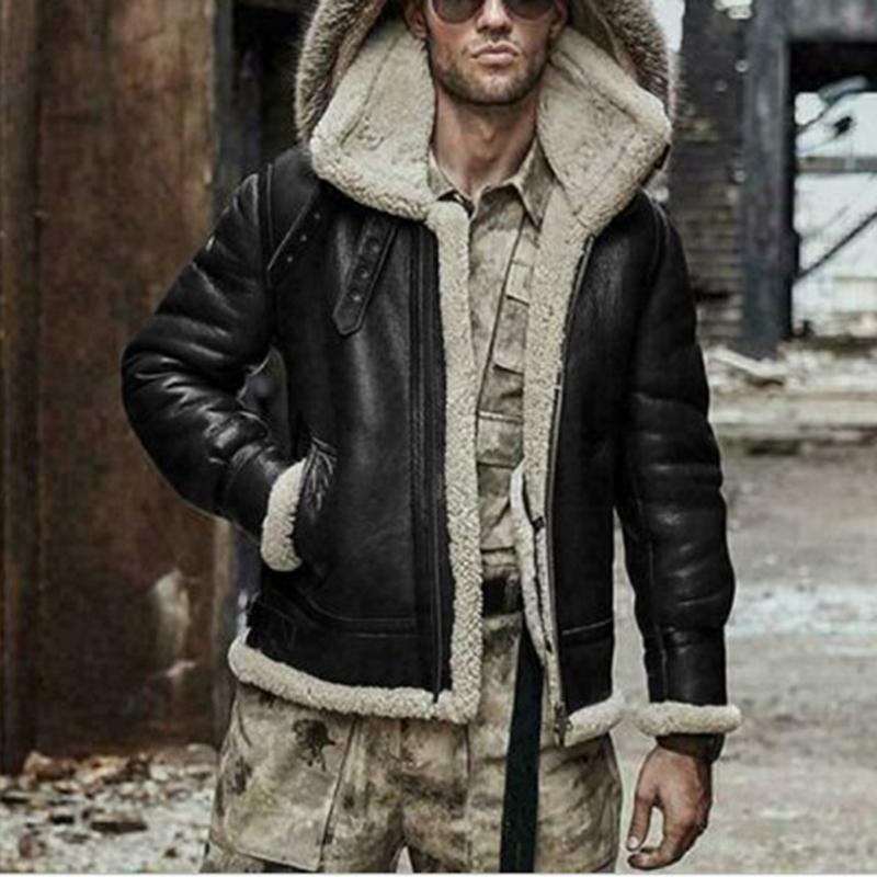 Collier chaud Aviator fourrure d'hiver d'homme manteau à capuchon Faux Veste en cuir Homme Mode Casual T200117-vêtement