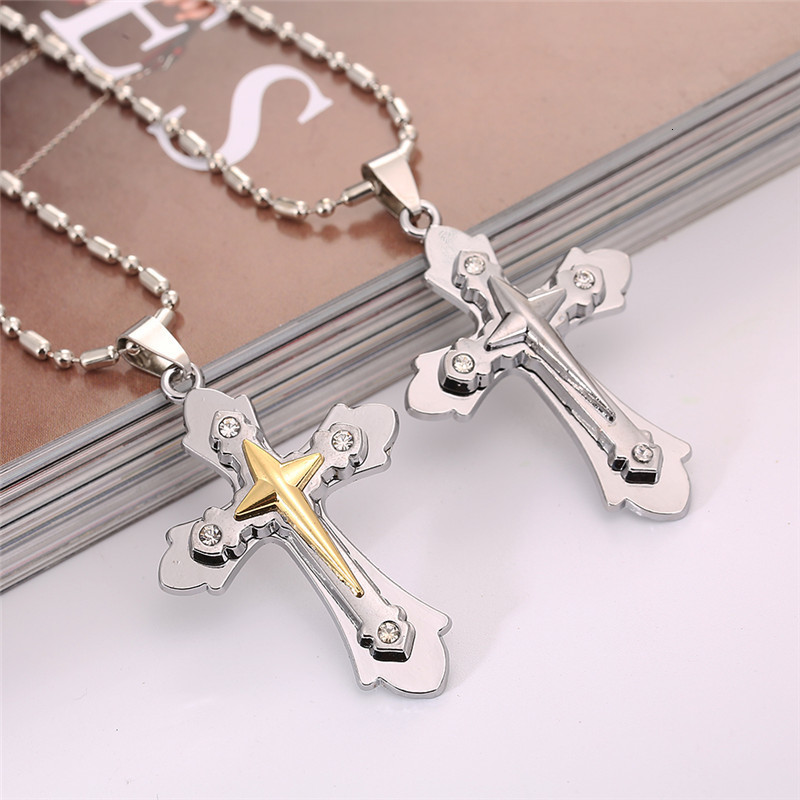 Round Cut CZ Crystal Cross Crucifix Pendant Solid .925 Sterling Silver Necklace