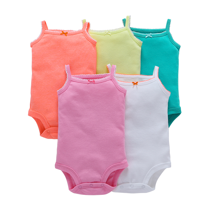 5 Pieces/set 2018 baby girl cotton candy color sleeveless o-neck cute rompers white green yellow summer new born baby clothes