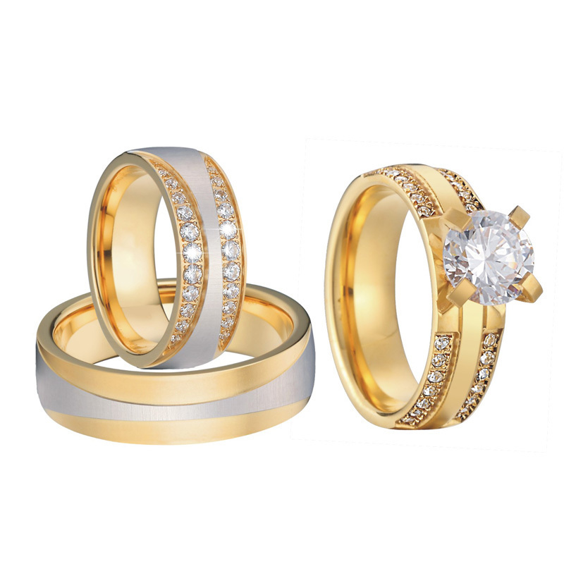 Luxury Gold Color 3 pieces wedding rings set for men and women bridal band Jewelry cz couple engagement rings alliance anel (2)