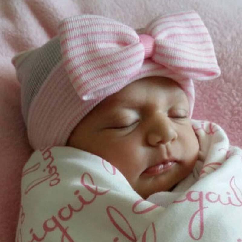 Cute Newborn Baby Infant Girl Toddler Comfy Bowknot Hospital Cap Beanie Hat SA