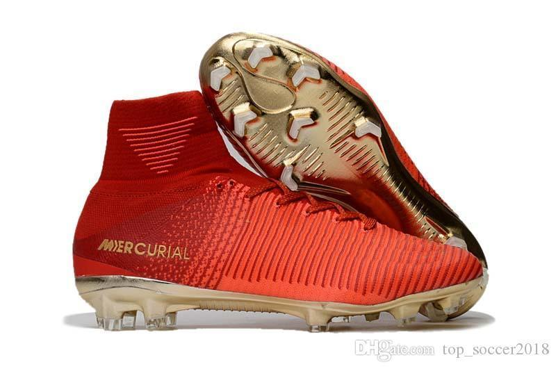 Red Gold Children Soccer Cleats Mercurial Superfly CR7 100% Original Kids Soccer Shoes High Ankle Cristiano Ronaldo Pogba Football Boots