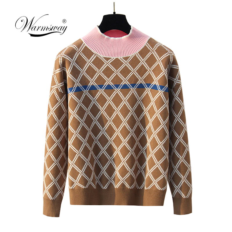 Autumn Winter Retro Chic Dropshoulder OversizedSweater Women Korean Casual Argyle PulloverLadies Jumper Robe Pull Femme C-402