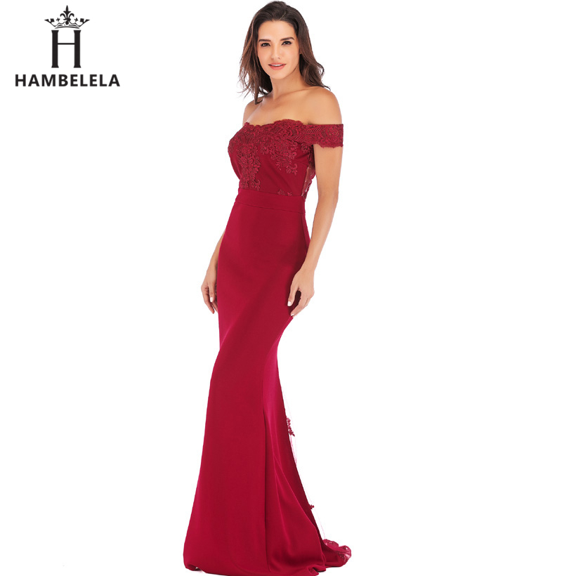 HAMBELELA Vestido De Festa Pink Black Red Mermaid Dress Lace Top Bodice Slim Long Formal Party Dress Charming Wedding Party Gown (13)