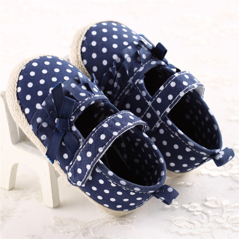 Baby Girls Shoes Fashion Newborn Infant Baby Girls Canvas Polka Dot Bowknot Shoes Soft Sole Anti-slip First Walker M8Y04 (11)